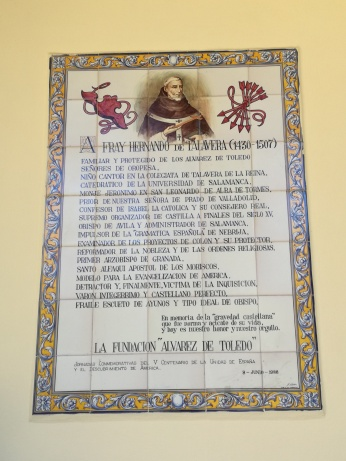 Placa en honor de Fray Hernando de Talavera. Foto: Francisco López